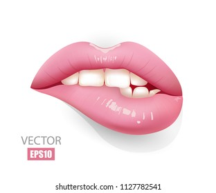 Sexy lips isolated on wight background, female lips with pink lipstick, bite lips. Girl's face. 3D effect. Vector illustration. EPS10