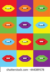 Sexy Lips pattern. Retro style pop art colored lips. Vector illustration