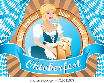 Sexy Oktoberfest girl, wearing a traditional Bavarian dress, serving big beer mugs / Oktoberfest banner, flat design, vector cartoon illustration