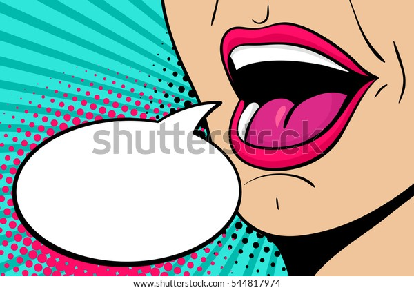 Sexy open female mouth screaming announcement and empty speech bubble. Vector bright background in comic retro pop art style