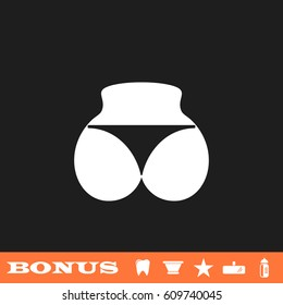 Sexy panties, women ass in a thong icon flat. White pictogram on black background. Vector illustration symbol and bonus button tooth, vase, star, mirror, bottle