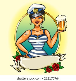 Sexy Pin Up Sailor Girl with cold beer.