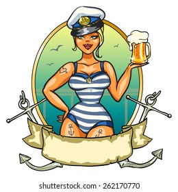 Sexy Pin Up Sailor Girl with cold beer,  isolated on white