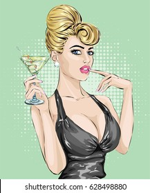 Sexy pin up woman drinking martini. Pop art hand drawn vector illustration background