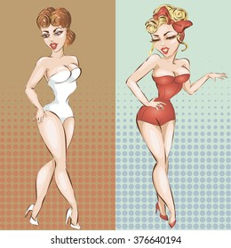 sexy pin-up girl in lingerie, vector illustration background