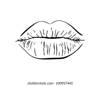 Sexy plump lips kiss isolated line art, Hand drawn illustration, Vector sketch