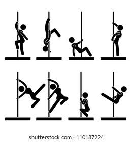 Sexy Pole Dance Icon Symbol Sign Pictogram