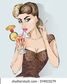 Sexy pop art woman drink cocktail and smoke cigarette. Pin-up hand drawn vector illustration background