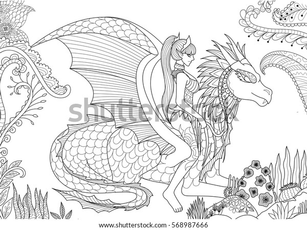 sexy queen riding dragon adult coloring