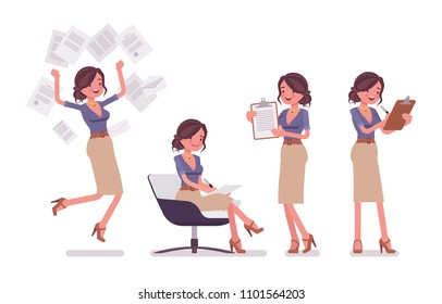 Sexy secretary busy with paperwork. Elegant female office assistant working with documents, making notes. Business administration. Vector flat style cartoon illustration isolated on white background