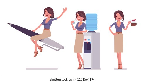 Sexy secretary at duty. Elegant female office assistant on pen rocket, at water cooler, with coffee. Business administration concept. Vector flat style cartoon illustration isolated, white background
