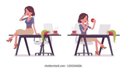 Sexy secretary with phone and lipstick. Elegant female office assistant doing make up, chatting. Business administration concept. Vector flat style cartoon illustration isolated on white background