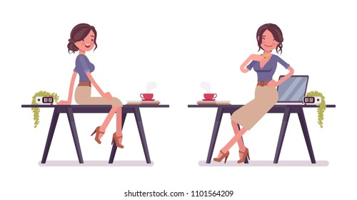Sexy secretary posing near the working desk. Elegant female office assistant smiling, tempting boss. Business administration concept. Vector flat style cartoon illustration isolated, white background