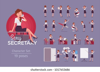 Sexy secretary ready-to-use character set. Elegant female office assistant in formal wear at work, full length, different views, gestures, emotions, front, rear view. Business administration concept