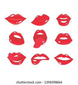 Sexy smile woman lips with tongue set. Girl's mouth with red lipstick collection