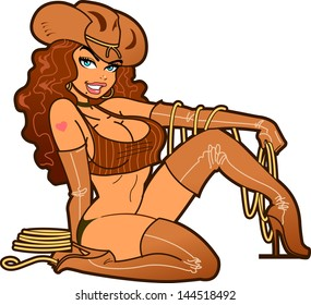 Sexy Smiling Cowgirl with Lasso Wearing Brown Leather