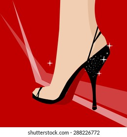 Sexy stiletto high heel on red carpet vector illustration background.