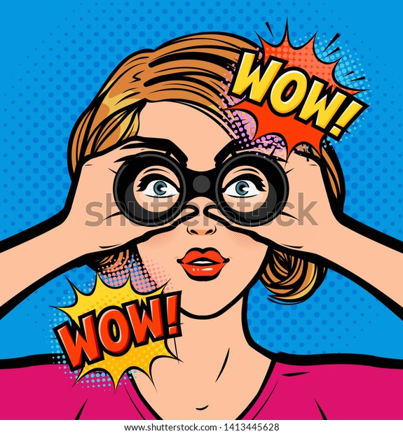 Sexy Surprised Woman Looking Through Binoculars Stock Vector Royalty Free 1413445628