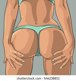 Sexy tanned woman booty. Vector illustration