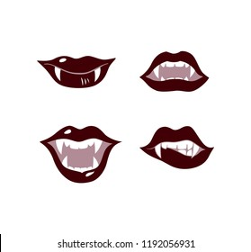 Sexy vampire mouth with fangs set. Halloween vector illustration. Female vampire lips. Design elements for advertising and promotion.  Isolated on white background.