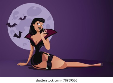 Sexy vampire pinup for halloween