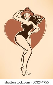 sexy vector pinup firewoman in retro cartoon style