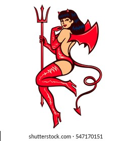 Sexy vintage pinup she devil girl temptress in erotic red latex outfit with pitchfork and demon wings vector illustration