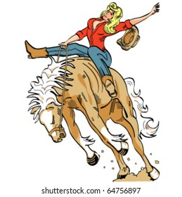 Sexy vintage or retro cartoon cowgirl riding a bucking bronco in a rodeo in sixties pop art style.