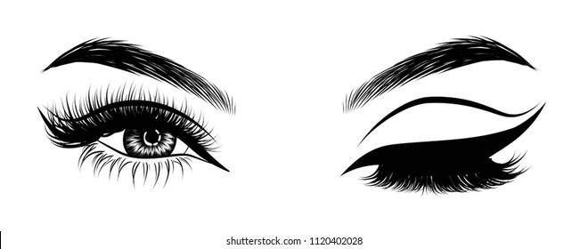 Sexy winking luxurious eye with perfectly shaped eyebrows and full lashes. Idea for business visit card, typography vector. Perfect salon look.Cut crease makeup