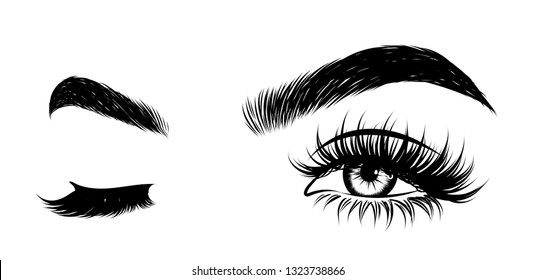 Sexy winking luxurious eye with perfectly shaped eyebrows and full lashes. Idea for business visit card, typography vector. Perfect salon look.