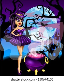 Sexy witch with potion
