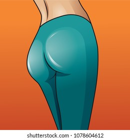 Sexy woman booty. Vector illustration