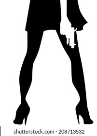 Sexy Woman With Gun silhouette. EPS 10 vector, no open shapes or paths Grouped for easy editing.
