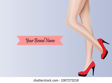 Sexy woman leg with red shoes - vector illustration