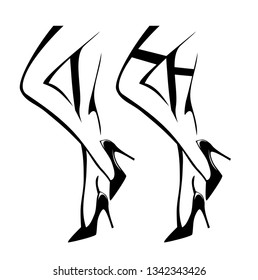 sexy woman legs wearing high heels stiletto shoes and stockings - black and white vector outline