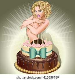 Admirable Womans Birthday Cake Stock Vectors Images Vector Art Shutterstock Funny Birthday Cards Online Sheoxdamsfinfo