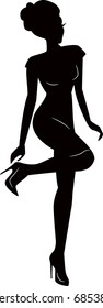 sexy woman silhouette in dress