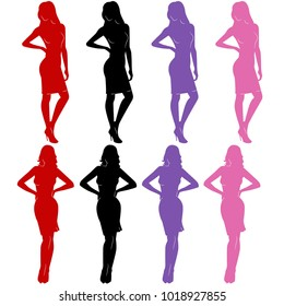 sexy woman silhouettes in dresses