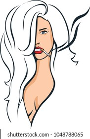sexy woman smoking  - illustration vector sketch
