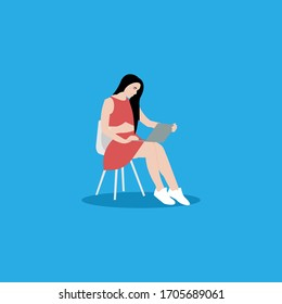 sexy woman work with laptop sitting in chair illustration design