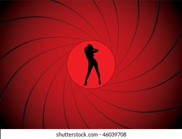 Sexy women dancing in a gun barrel sight like james bond