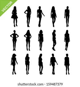 Sexy women and model posing silhouettes vector set 6