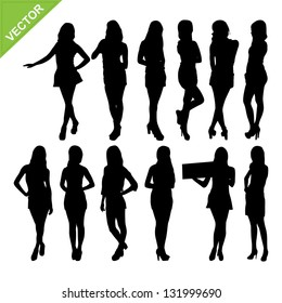 Sexy women silhouettes vector set 1