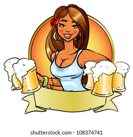 Sexy young girl with beer, logo design with space for text, invitation