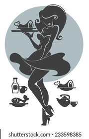 sexy and young waiter silhouette in pinup style style for your menu, with food silhouettes