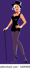 Sexy young woman in a chorus girl outfit, top hat and with a cane standing against a purple background