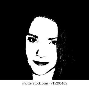 Sexy young woman graffiti stencil face. Vector art.