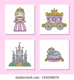 Sey of cute card with fairy tale characters. Princess, carriage, castle and royal cat. Vector illustration.