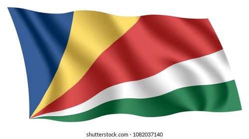 Seychelles flag. Isolated national flag of Seychelles. Waving flag of the Republic of Seychelles. Fluttering textile flag.