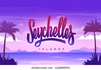 The Seychelles islands handwriting, background with small island, sandy beach, palms and the ocean. Vector illustration.